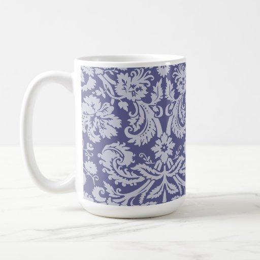 Dark Blue-Gray Damask Coffee Mugs