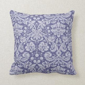 Dark Blue-Gray Damask Throw Pillow