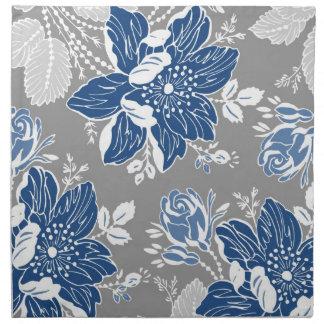 Dark Blue Gray Floral Dinner Napkins