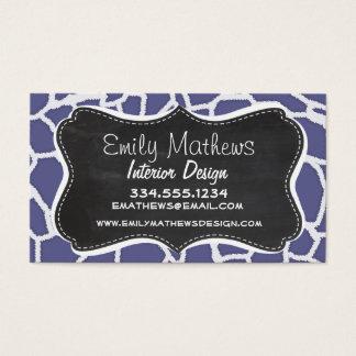Dark Blue-Gray Giraffe Animal Print; Chalkboard