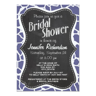 "Dark Blue-Gray Giraffe Animal Print; Chalkboard 4.5"" X 6.25"" Invitation Card"