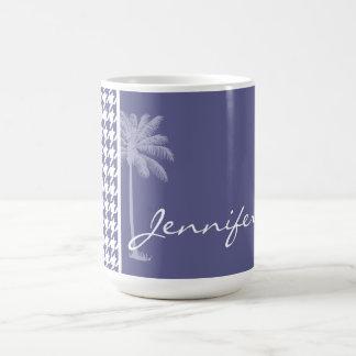 Dark Blue-Gray Houndstooth Palm Mug