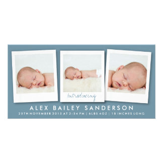 Dark Blue Gray New Baby Announcement with 3 Photos Photo Cards