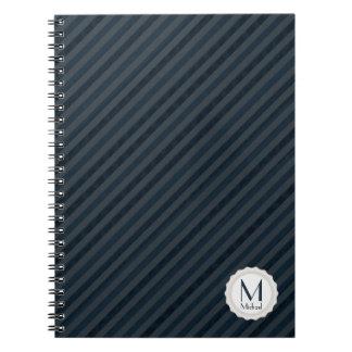 Dark Blue & Gray Personalized Monogram Notebooks