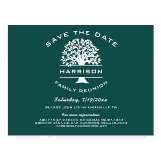 Dark Blue Green Family Tree Reunion Save the Date Postcard