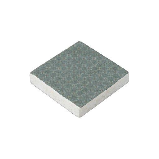 Dark Blue Green Geometric Pattern Stone Magnet