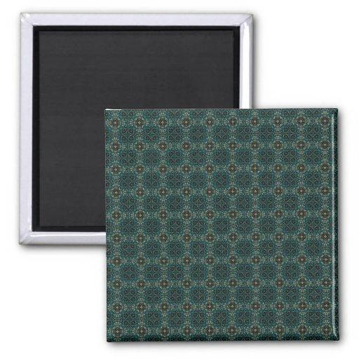 Dark Blue Green Geometric Pattern Magnets