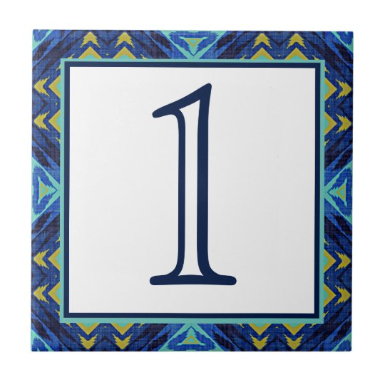 Dark Blue Green Yellow Eclectic Ethnic Look Small Square Tile