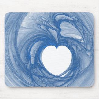 Dark Blue Heart Mouse Pad