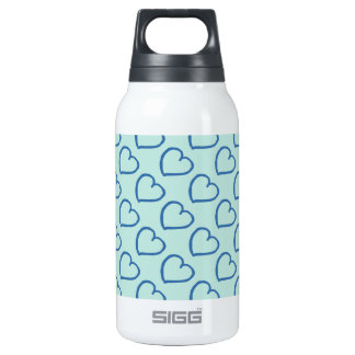 Dark blue hearts on light blue insulated water bottle
