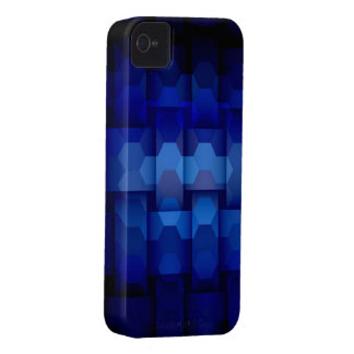 Dark blue hexagons seamless graphic design iPhone 4 case