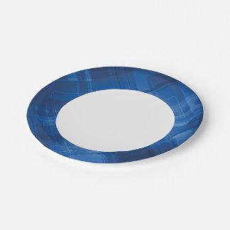 Dark blue hi-tech background 7 inch paper plate