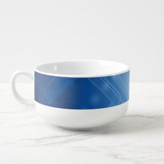 Dark blue hi-tech background soup bowl with handle
