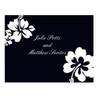 Dark Blue Hibiscus Wedding Invitation Postcard