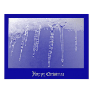Dark Blue Icicles Personalized Announcement