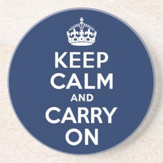 Dark Blue Keep Calm and Carry On Coaster