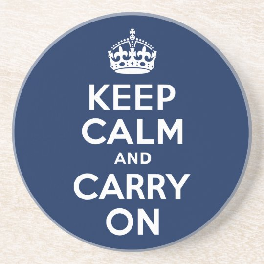 Dark Blue Keep Calm and Carry On Coaster