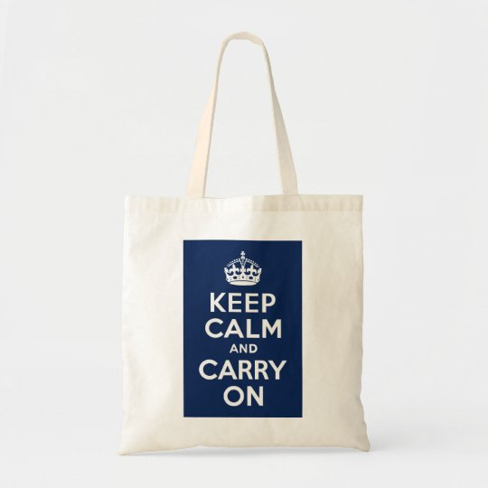 Dark Blue Keep Calm and Carry On Tote