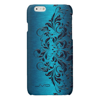 Dark Blue Lace & Turquoise Metallic Background iPhone 6 Plus Case