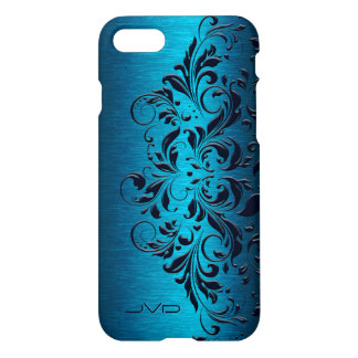 Dark Blue Lace & Turquoise Metallic Background iPhone 7 Case