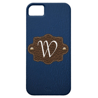 Dark Blue Leather Look monogrammed iPhone 5 iPhone 5 Case
