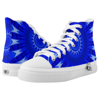 Dark Blue Mandala Zipz High Top Shoes