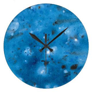 Dark Blue Marble Splat Large Clock