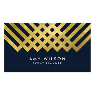 Dark Blue Modern and Faux Gold Geometric Design Pack Of Standard Business Cards