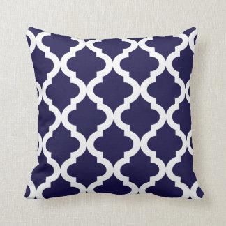 Dark Blue Moroccan Quatrefoil Print Cushion