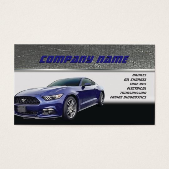 Dark Blue Mustang Business Cards