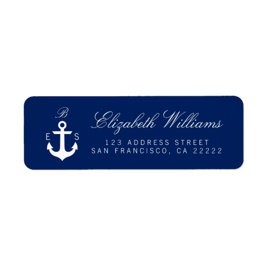 Dark Blue Nautical Monogram Return Address Labels