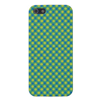 Dark Blue, Neon Green Polka Dots on Emerald Green Case For iPhone 5/5S
