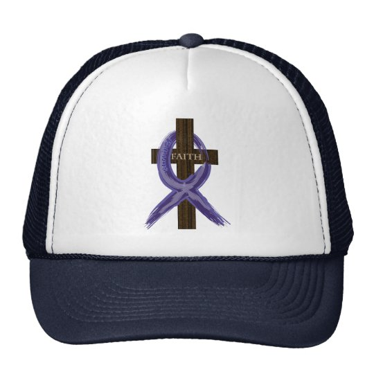 "Dark Blue ""Painted"" Colon Cancer Ribbon Cap"