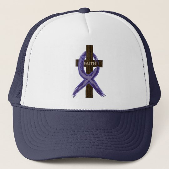 "Dark Blue ""Painted"" Colon Cancer Ribbon Trucker Hat"