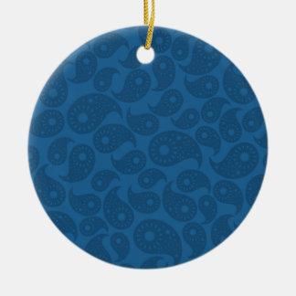 Dark Blue Paisley. Christmas Tree Ornaments