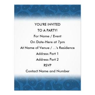Dark Blue Paisley Personalized Invites