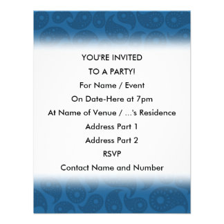 Dark Blue Paisley. Personalized Invites