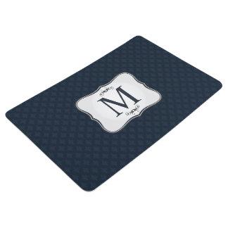Dark Blue Pattern – Classy Men's Monogram Floor Mat
