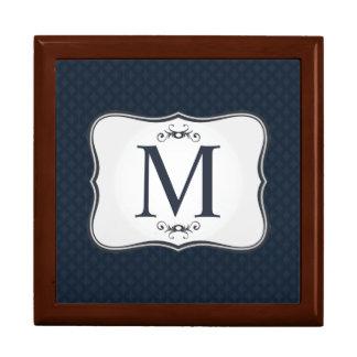 Dark Blue Pattern – Classy Men's Monogram Gift Box