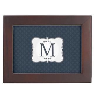 Dark Blue Pattern – Classy Men's Monogram Keepsake Box