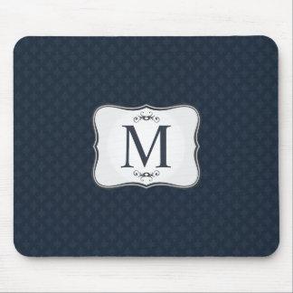 Dark Blue Pattern – Classy Men's Monogram Mouse Pad