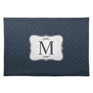 Dark Blue Pattern – Classy Men's Monogram Place Mat