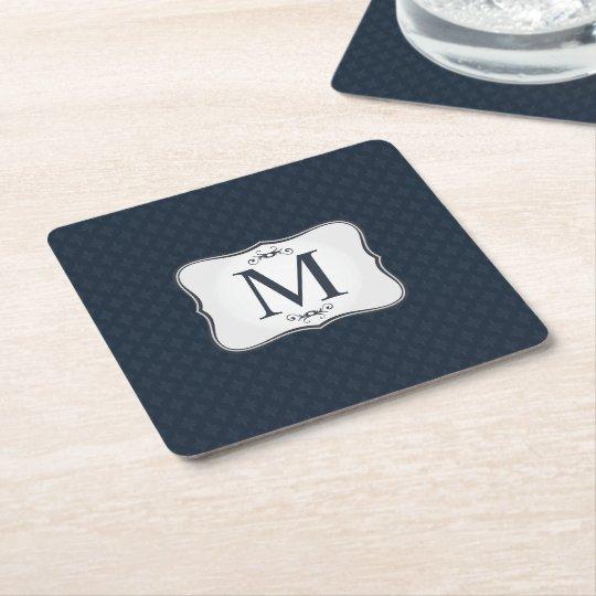 Dark Blue Pattern – Classy Men's Monogram Square