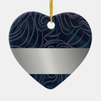 dark blue pattern with silver line for monograms christmas ornament