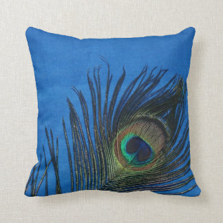 Dark Blue Peacock Feather Still Life Throw Pillow