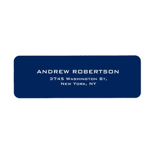 Dark Blue Plain Elegant Contemporary Unique Return Address Label