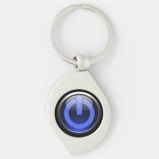 Dark Blue Power Button Keychain