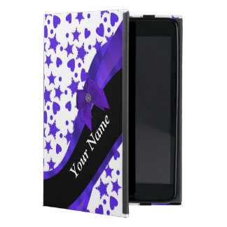 Dark blue pretty girly pattern personalized case for iPad mini