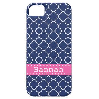 Dark Blue Quatrefoil Pattern Hot Pink Banner iPhone 5 Cover