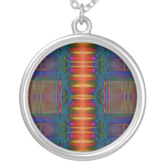 dark blue red abstract round pendant necklace
